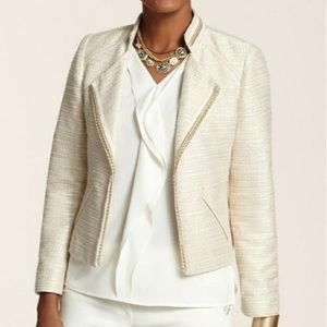 Chico's Moto Jacket Neutral Tweed with Gold Sz M